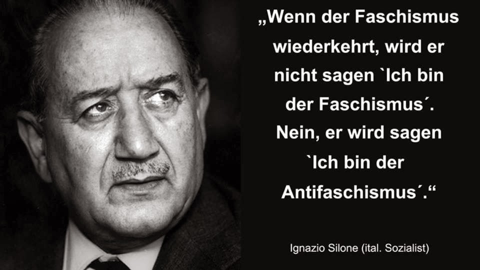 Bildergebnis für Bild Zitat : Der Faschismus wird nicht sagen ...