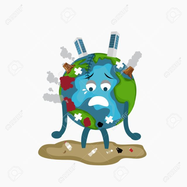 erath globe sad sick tired of polution global warming deforestation full of dirty garbage environmental damage